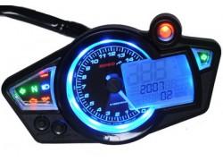 BA011B03 Cockpit Digital KOSO RX1N universal 2T y 4T - VELOCIDAD, RPM, INTERMITENTES, KM, LUZ LARGA, MARCHAS, GASOLINA, ACEITE - Display negro e iluminado azul.