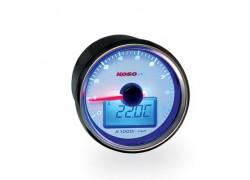 BA551B22-1 Cuentarevoluciones KOSO GP-Style 55 II redondo-cromo (d.55x57mm), 0-9000 RPM (analógico), TEMP (digital), SELFTEST - Display negro- Iluminado azul.