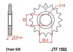 Piñon 15 dientes Yamaha YFZ450R 09-18, YFF450X 10-11, YFM700 Raptor 06-14
