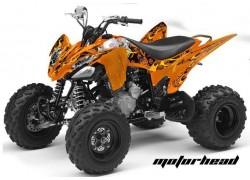 Detalle de todos los adhesivos que componen el Kit Adhesivos Motorhead Mandy AMR Yamaha YFM250 Raptor.