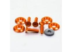 Pack 4 tornillos y arandelas avellanados M6x25mm. Naranja PRO-BOLT