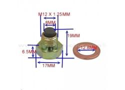 Tornillo magnetico vaciado aceite motor M12x1.25-12mm. Artic Cat DVX400 04-08, Suzuki LT-Z400 03-17