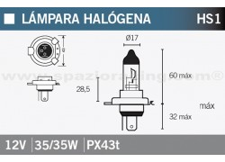 Bombilla halógena HS1 12V. 35/35W Suzuki LT-A400 King Quad 4x4 08-10, LT-A450 King Quad 4x4 07-12, LT-A500 King Quad 4x4 12-16, LT-A500 King Quad 4x4 Power steering 09-11