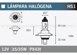 Bombilla halógena HS1 12V. 35/35W Yamaha YFM550 Grizzly 09-12, YFM550 Grizzly EPS 10-11, YFM 550 Grizzly EPS Camo 10-11, YFM550 Grizzly EPS Special Edition 2011