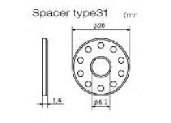 "D58-58-124 Medidas separador/arandela aluminio ""Tipo-31"" DRC"