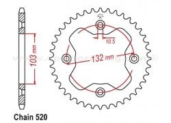Corona de 38 dientes KTM 450 SX ATV 09-12, 450 XC ATV 08-12, 525 SX ATV 09-13, 525 XC ATV 08-13
