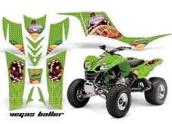 Detalle de todos los adhesivos que componen el Kit Adhesivos Vegas Baller AMR Kawasaki KFX700.