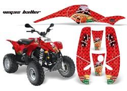 Detalle de todos los adhesivos que componen el Kit Adhesivos Vegas Baller AMR Polaris Trailblazer 250, Trailblazer 330, Trailblazer 400, Phoenix 200, Scrambler 500.